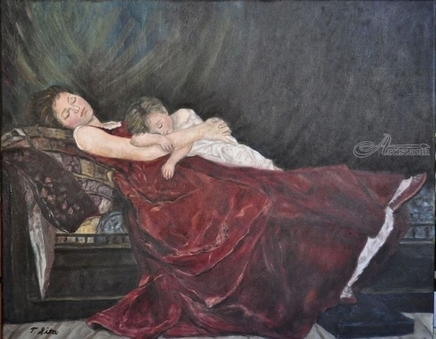 Sleeping mother and baby, Paintings, Fine Art, Figurative, Oil, By Terry Sita