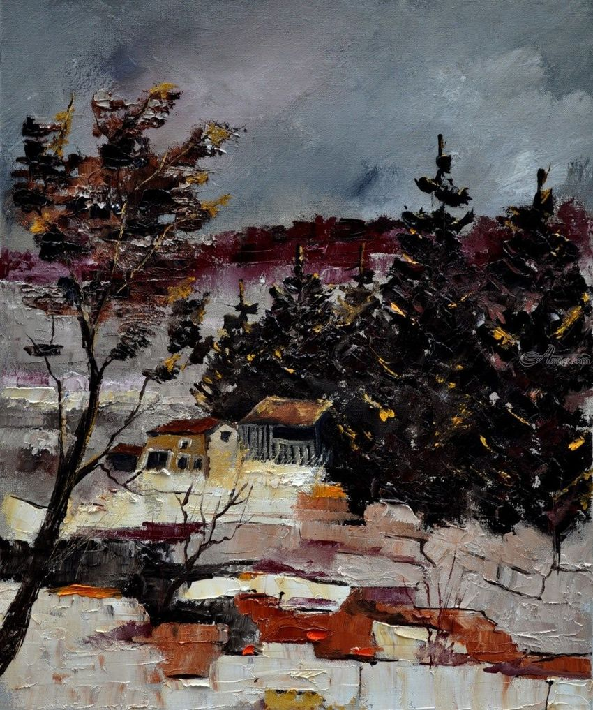 snow in ardennes, Paintings, Expressionism, Landscape, Canvas, By Pol Henry Ledent