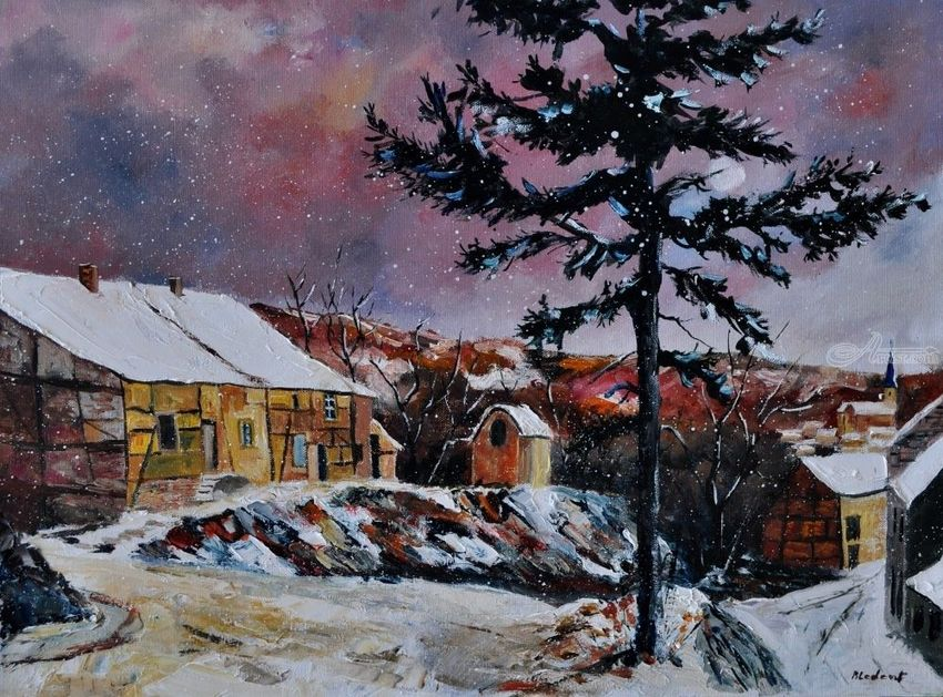 snow in houroy 68, Paintings, Impressionism, Landscape, Canvas, By Pol Henry Ledent