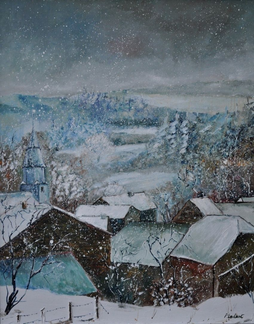 snow in Ouroy, Paintings, Impressionism, Landscape, Canvas, By Pol Henry Ledent