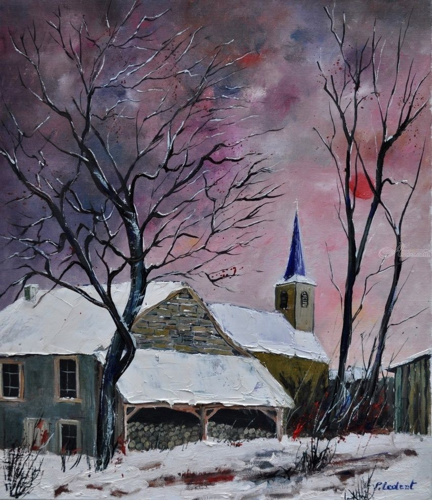snow in  sevry, Paintings, Impressionism, Landscape, Canvas, By Pol Henry Ledent
