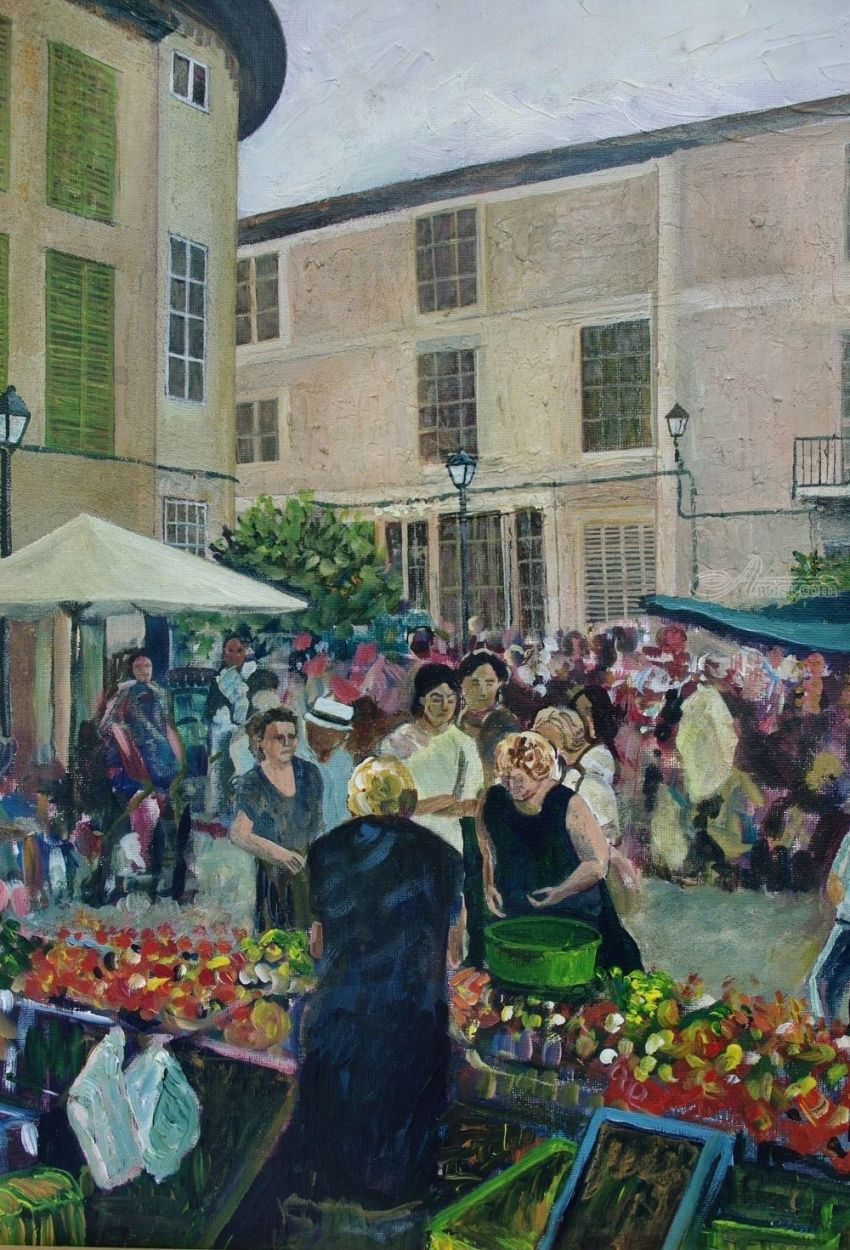 Spanish Market, Paintings, Realism, Figurative, Landscape, Acrylic, By Matthew David Evans
