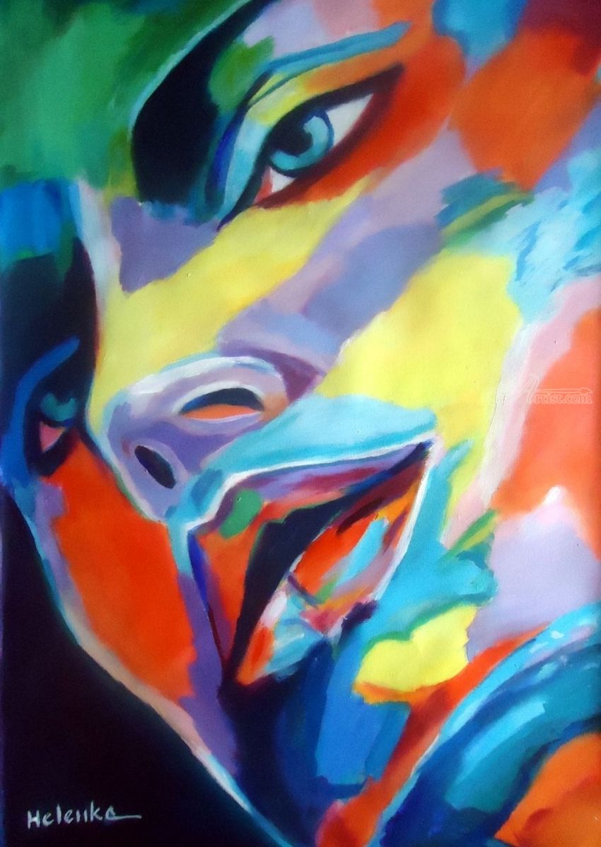 Spellbound, Paintings, Abstract, Expressionism, Fauvism, Fine Art, Avant-Garde, Decorative, Fantasy, Figurative, People, Portrait, Acrylic, Canvas, By Helena Wierzbicki