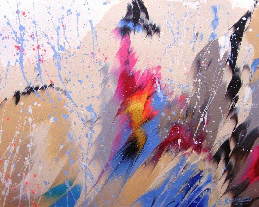Splashes, Paintings,Paper Art, Abstract, Composition,Decorative, Acrylic,Ink,Watercolor, By Irini Karpikioti