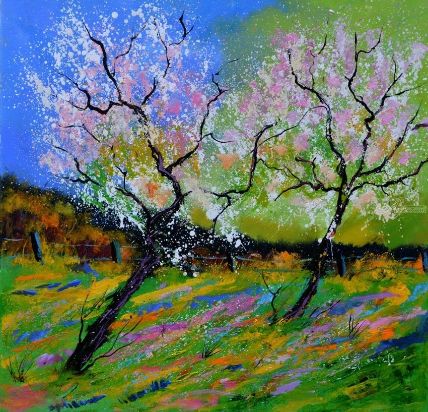 spring 8861, Paintings, Impressionism, Botanical, Canvas, By Pol Henry Ledent