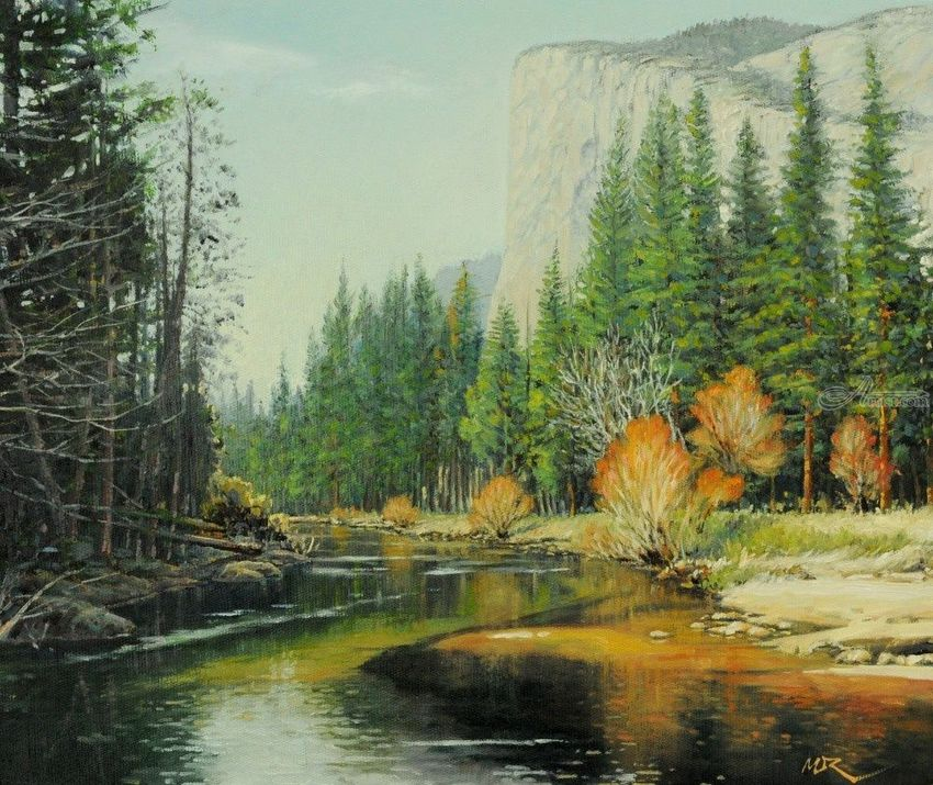 Spring Comes...Yosemite, Paintings, Impressionism, Landscape, Canvas, By Mason Mansung Kang