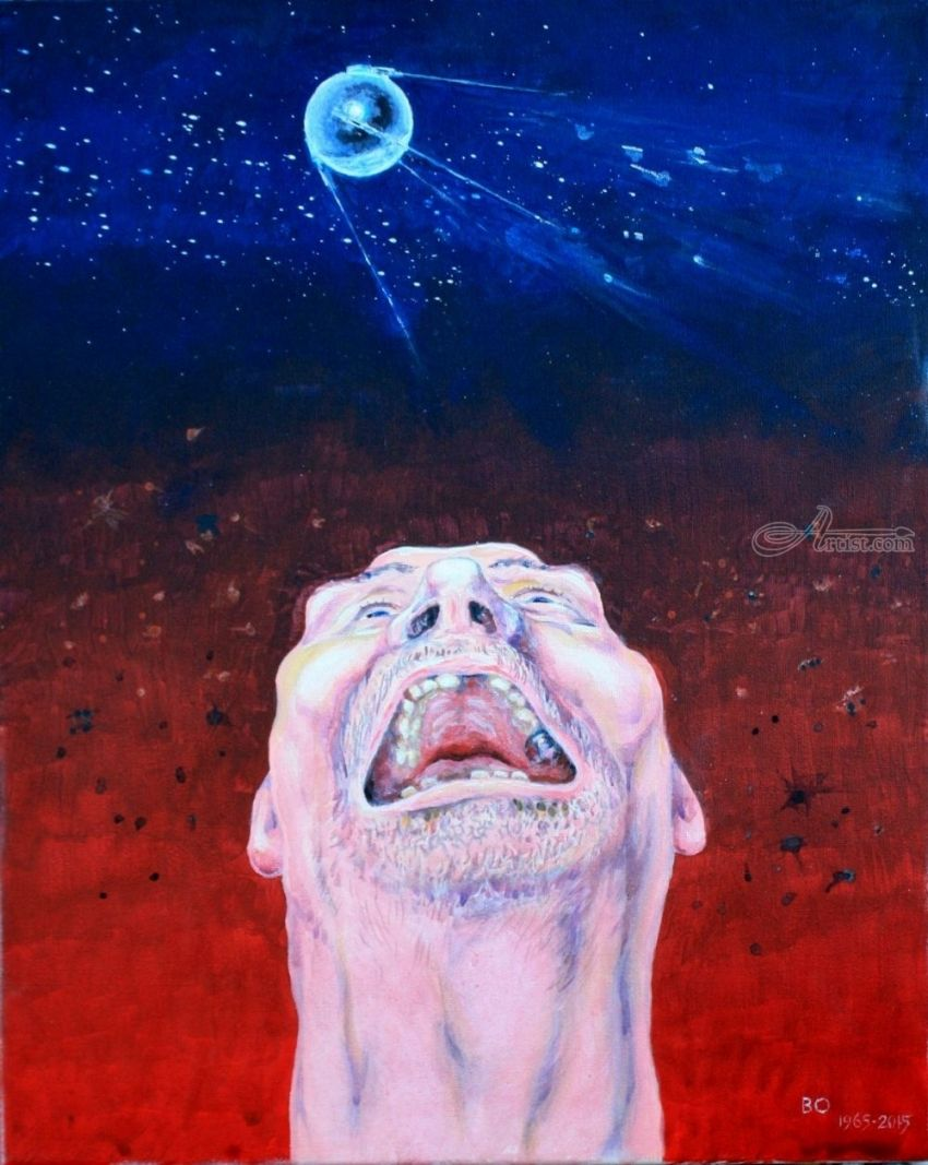 Sputnik launched, Paintings, Surrealism, Humor, Acrylic, Canvas, By Victor Ovsyannikov