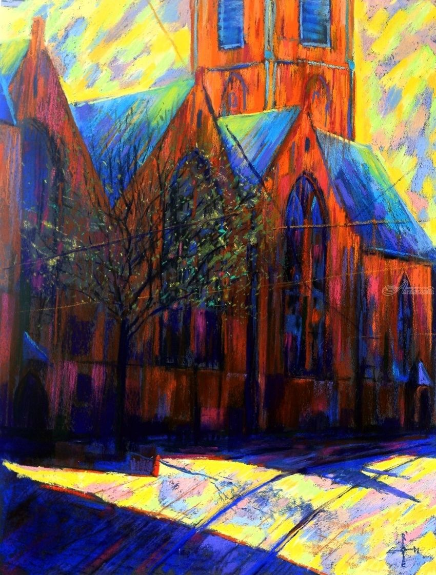 St. James Church (Grote of St.-Jacobskerk) at The Hague - 10-03-15, Drawings / Sketch, Abstract,Expressionism,Fine Art,Impressionism,Realism,Surrealism, Cityscape,Composition,Figurative,Inspirational,Landscape, Pastel, By Corne Akkers