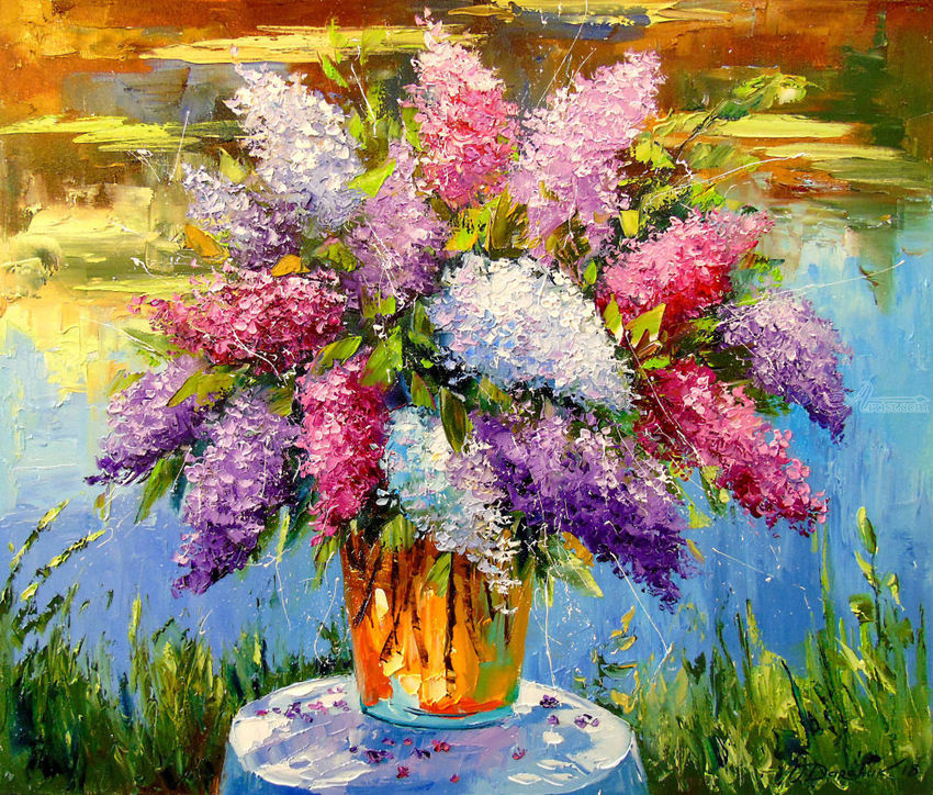 Still life with lilac by the pond, Paintings, Impressionism, Botanical, Floral, Nature, Canvas, Oil, Painting, By Olha   Vyacheslavovna Darchuk