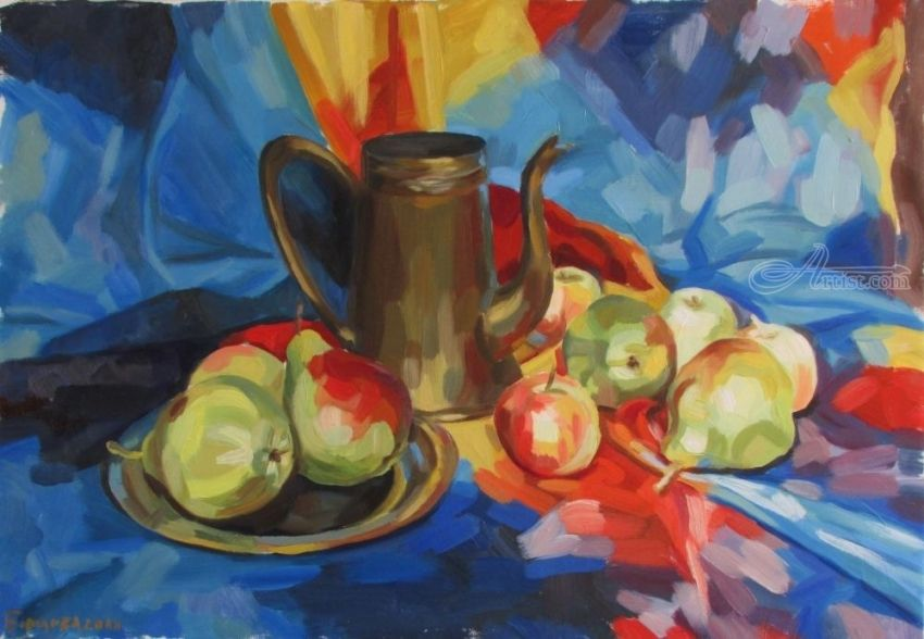 Still life with pears, Paintings, Fine Art, Photorealism, Realism, Botanical, Figurative, Still Life, Canvas, Oil, Painting, By Kateryna Bortsova