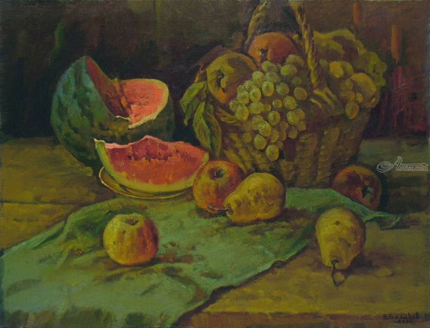 Still life with water melon, Paintings, Impressionism, Still Life, Canvas, Oil, Painting, By Sergey Belikov
