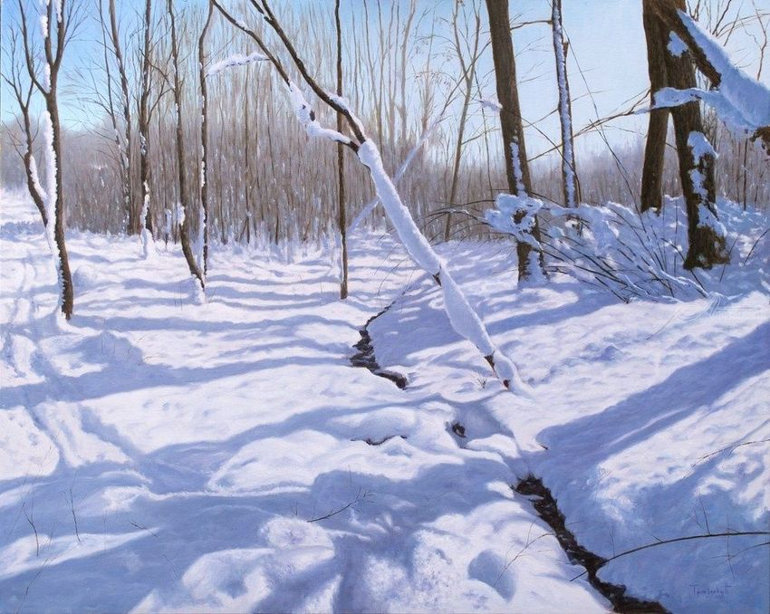 Stream in the Snow, Paintings, Fine Art, Photorealism, Realism, Landscape, Nature, Canvas, Oil, By Dejan Trajkovic