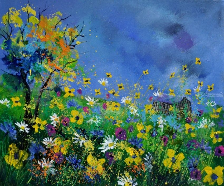 summer 564121, Paintings, Expressionism, Floral, Landscape, Canvas, By Pol Henry Ledent