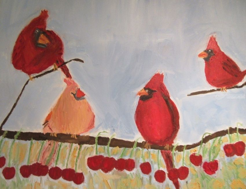 Summer Cardinals, Paintings, Fine Art, Animals, Canvas, Oil, By Pamela F Ruggiero