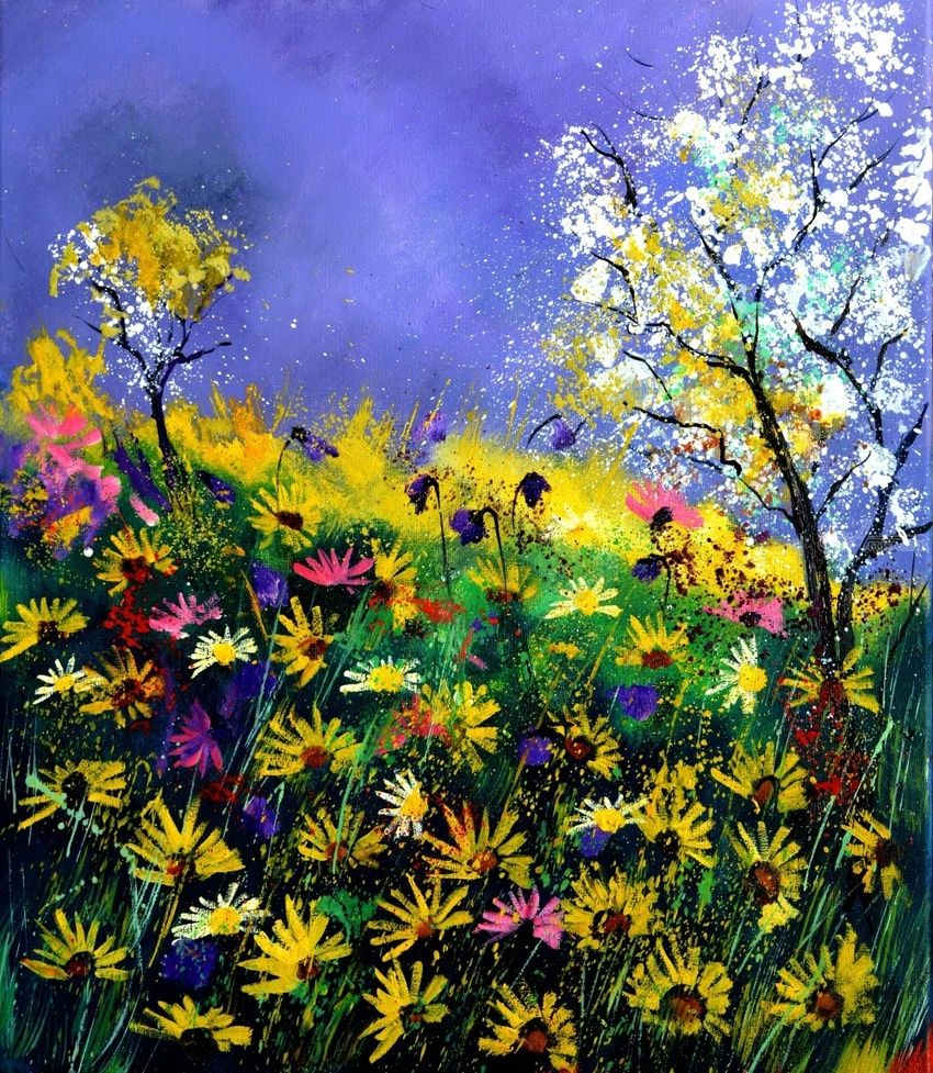 summer daisies, Paintings, Impressionism, Floral,Landscape, Canvas, By Pol Henry Ledent