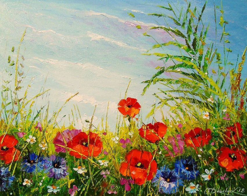 Summer field of flowers, Paintings, Impressionism, Botanical, Floral, Landscape, Nature, Canvas, Oil, Painting, By Olha   Vyacheslavovna Darchuk