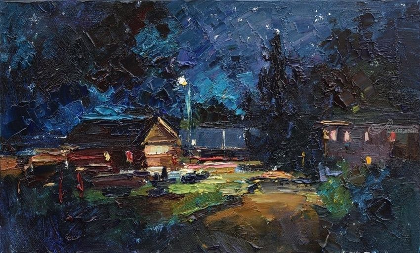 Summer Night - Original rural landscape painting, Paintings, Impressionism, Landscape,Nature, Oil, By Anastasiya Valiulina