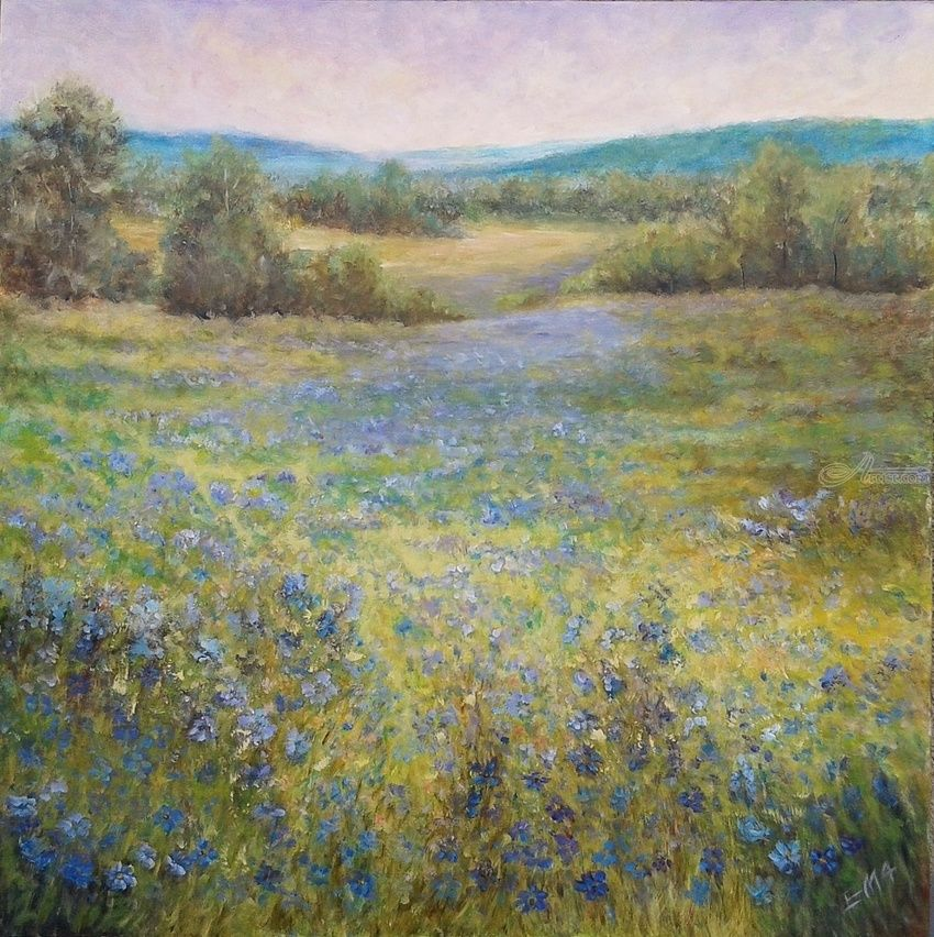 SUMMER POEM, Paintings, Fine Art,Impressionism,Romanticism, Floral,Land Art,Landscape,Nature, Acrylic, By Emilia Milcheva
