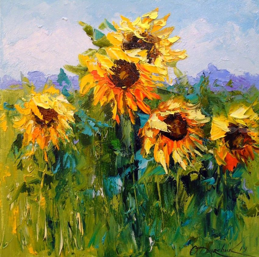 Sunflowers in the wind, Paintings, Impressionism, Botanical, Floral, Landscape, Canvas, Oil, Painting, By Olha   Vyacheslavovna Darchuk