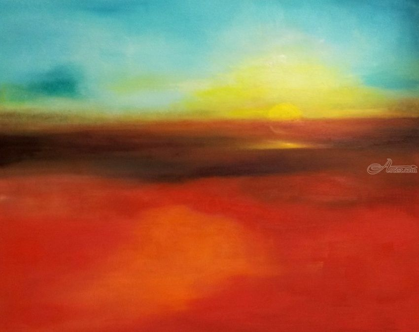 Sunset, Paintings, Abstract,Expressionism, Daily Life,Nature, Canvas,Oil, By Anastasia Salo