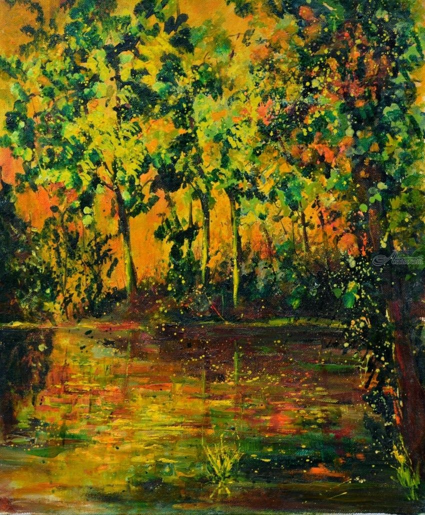 Sunset and pond, Paintings, Fauvism, Landscape, Canvas, By Pol Henry Ledent