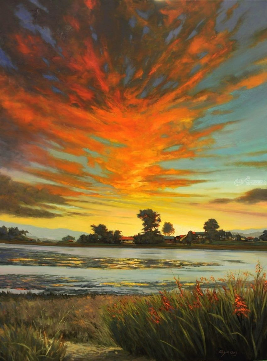 Sunset at the Bolinas Lagoon, Paintings, Impressionism, Landscape, Canvas, Oil, By Mason Mansung Kang