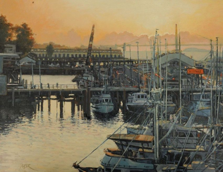 Sunset at the Pier, Paintings, Impressionism, Landscape, Canvas, By Mason Mansung Kang