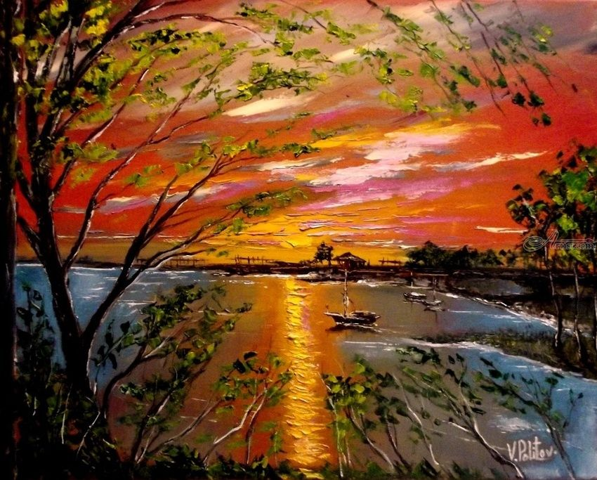 SUNSET IN A FISHING BAY, Paintings, Expressionism,Impressionism, Seascape, Canvas,Oil, By Valeriy Politov