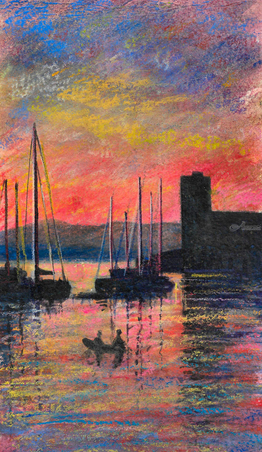 Sunset in Oban Harbour, Paintings, Fine Art, Impressionism, Realism, Composition, Landscape, Seascape, Mixed, Painting, Pastel, By Matthew David Evans