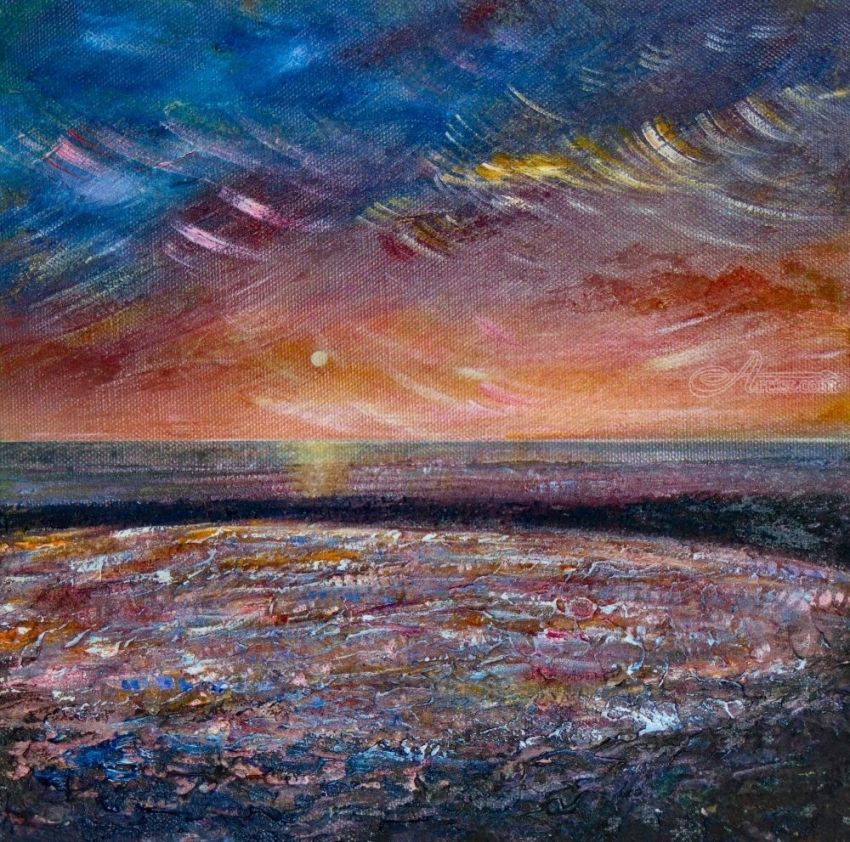 Sunset Texture, Paintings, Fine Art, Impressionism, Seascape, Canvas, Mixed, Painting, By Matthew David Evans