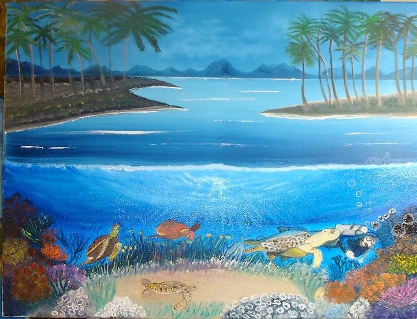 Swimming with Sea Turtles, Paintings, Fine Art, Inspirational,Landscape, Canvas,Oil, By Lana karin Fultz