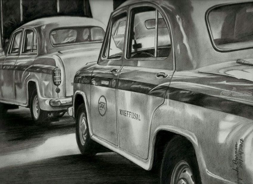 Taxis of kolkata drawings sketch realism multicultural ethnic pencil