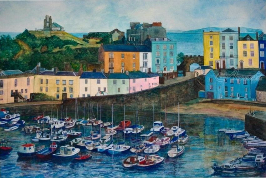 TENBY HARBOUR, Paintings, Fine Art, Landscape, Seascape, Painting, Watercolor, By Matthew David Evans