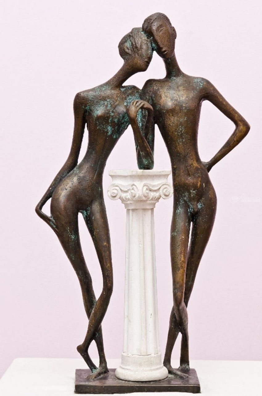 Tenderness, Sculpture, Modernism, Erotic, Bronze, By ZAKIR AHMEDOV