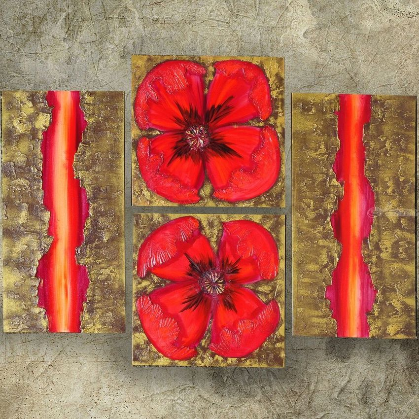 textured gold hot red poppies paintings A049, Paintings, Abstract, Expressionism, Fine Art, Minimalism, Modernism, Botanical, Conceptual, Decorative, Floral, Nature, Acrylic, Canvas, Painting, By Ksavera Art