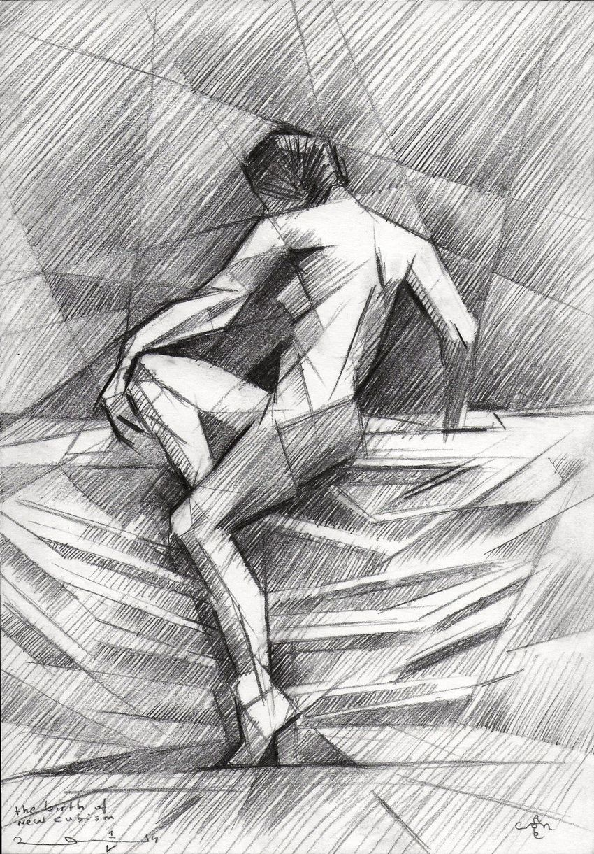 The birth of new cubism - 01-05-14, Assemblage,Drawings / Sketch, Abstract,Cubism,Fine Art,Surrealism, Anatomy,Composition,Erotic,Figurative,Inspirational,Nudes,People, Pencil, By Corne Akkers
