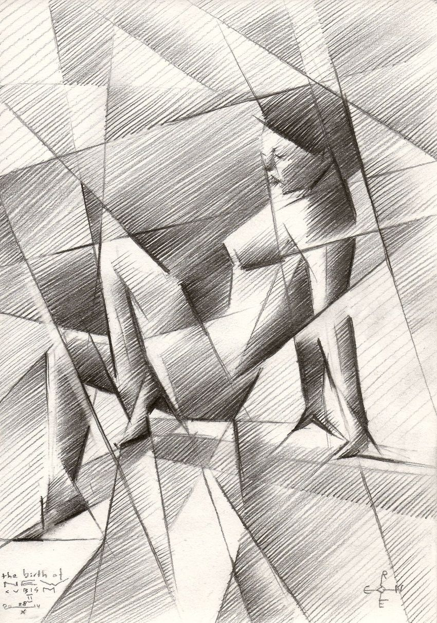 The birth of new cubism 2 - 28-10-14, Drawings / Sketch, Abstract,Cubism,Fine Art,Impressionism,Realism,Surrealism, Anatomy,Composition,Erotic,Figurative,Inspirational,Nudes,People, Pencil, By Corne Akkers