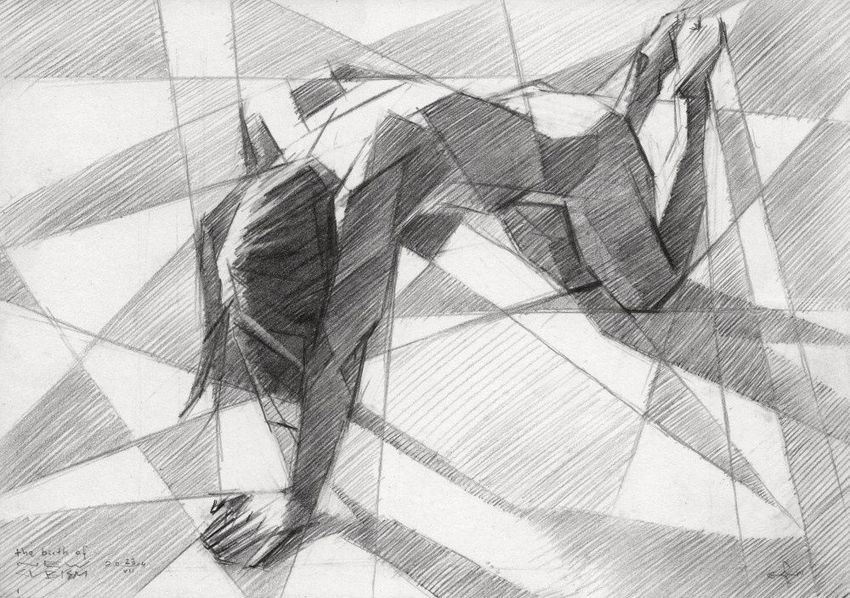 The birth of new cubism - 23-07-14, Drawings / Sketch, Abstract, Cubism, Fine Art, Impressionism, Realism, Anatomy, Composition, Erotic, Figurative, Inspirational, Nudes, People, Pencil, By Corne Akkers