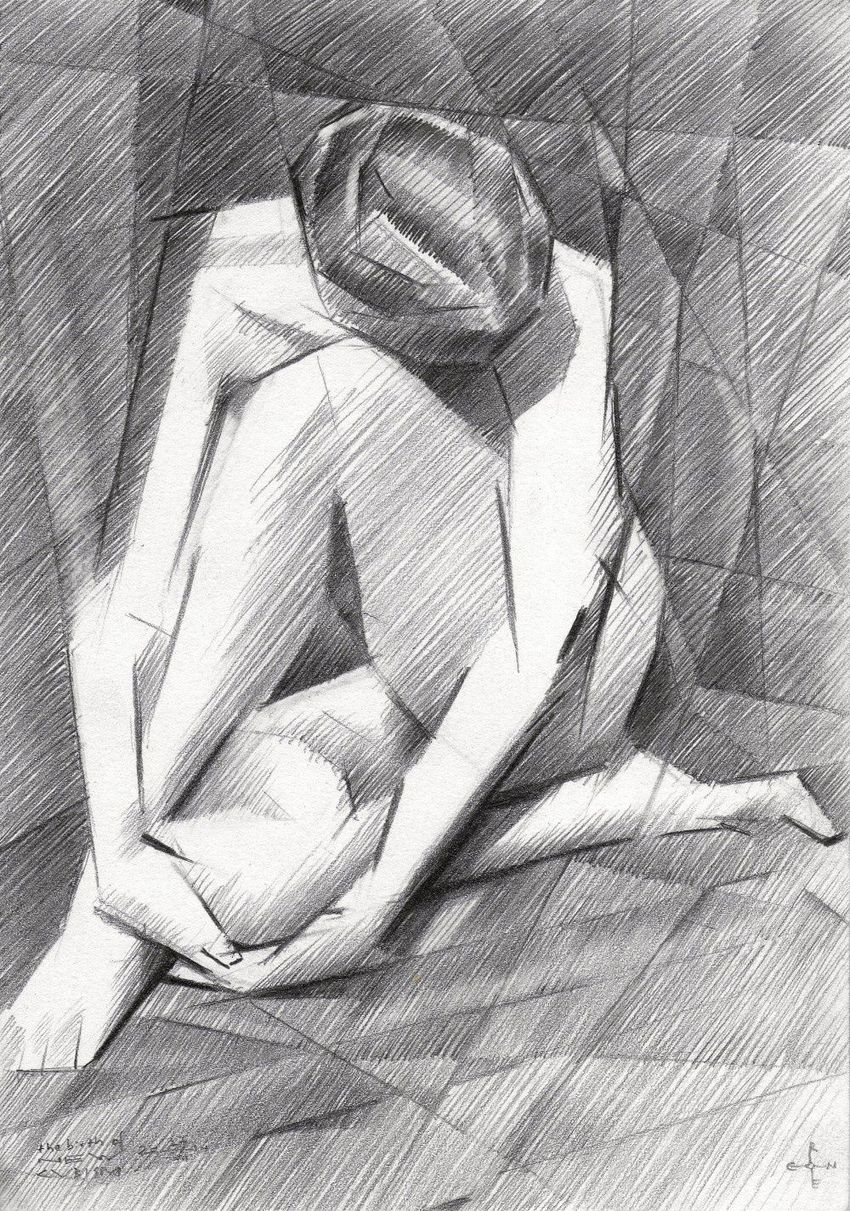 The birth of new cubism - 27-07-14, Drawings / Sketch, Abstract,Cubism,Impressionism,Realism, Anatomy,Composition,Erotic,Figurative,Inspirational,Nudes,People, Pencil, By Corne Akkers