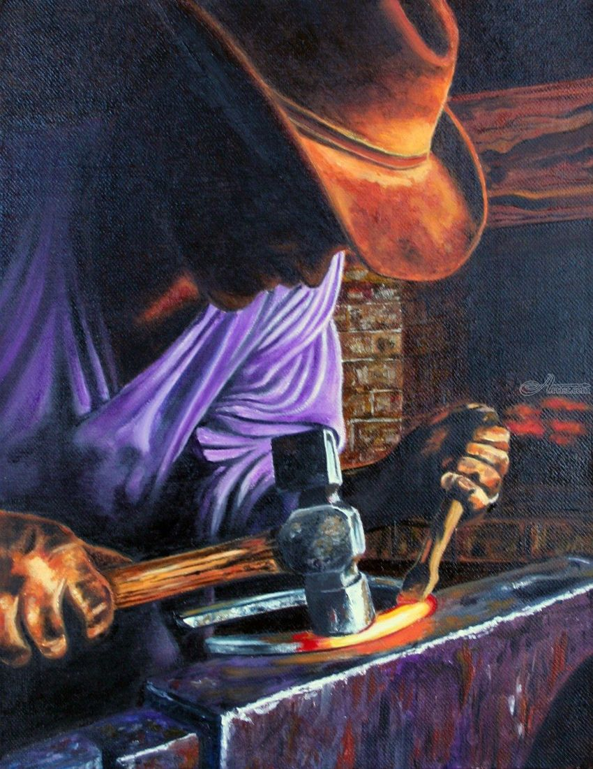 The Blacksmith, Paintings, Fine Art, Realism, Daily Life, Figurative, People, Portrait, Canvas, By Rick Seguso