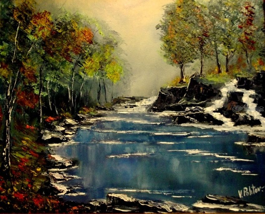 THE BREATH OF AUTUMN, Paintings, Impressionism, Landscape, Canvas, Oil, Painting, By Valeriy Politov