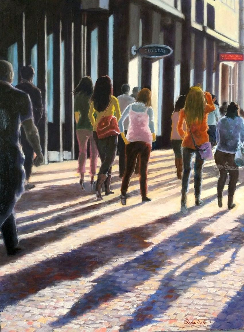 The Busy City, Paintings, Impressionism, Cityscape, People, Oil, Wood, By Mason Mansung Kang