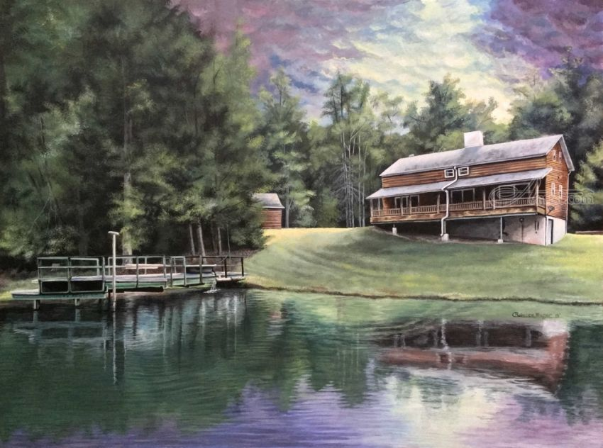 The Cabin, Architecture, Illustration, Paintings, Fine Art, Realism, Architecture, Landscape, Acrylic, By Rebecca Suzanne Magar