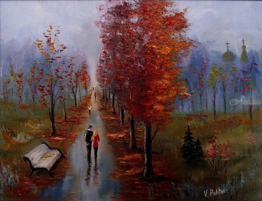 THE COLOR OF DISTANT ALLEYS, Paintings, Impressionism, Cityscape,People, Canvas,Oil, By Valeriy Politov