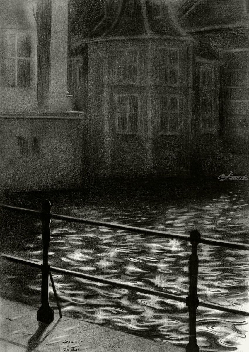 The Court's pond (De Hofvijver) - 26-11-15, Drawings / Sketch, Abstract,Cubism,Fine Art,Impressionism,Realism,Surrealism, Architecture,Cityscape,Composition,Figurative,Inspirational,Landscape,Nature, Pencil, By Corne Akkers