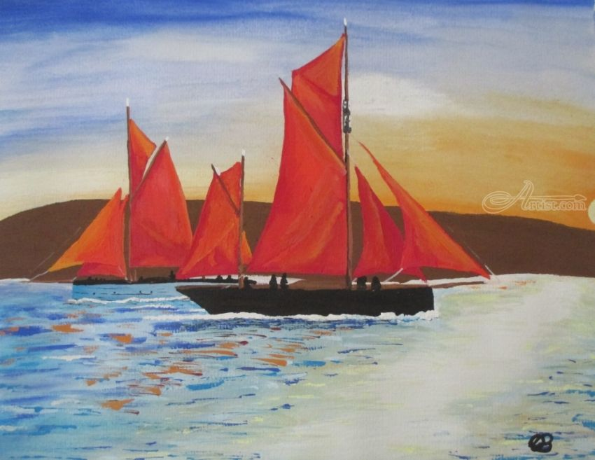 The Crossing, Paintings, Fine Art,Impressionism,Surrealism, Seascape, Watercolor, By Ann Biddlecombe