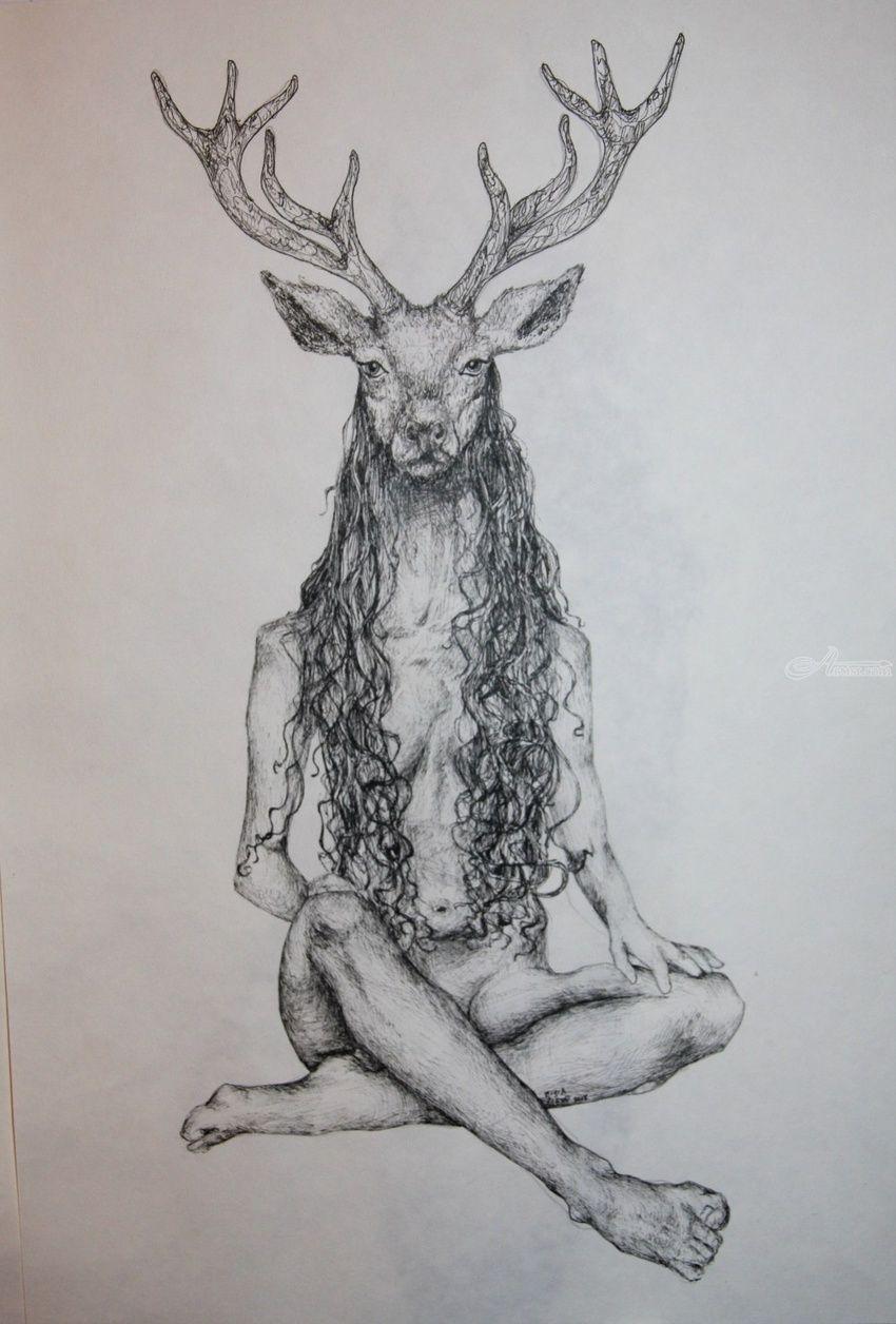 The Deer Woman Decorative Arts,Drawings / Sketch,Folk Art ...