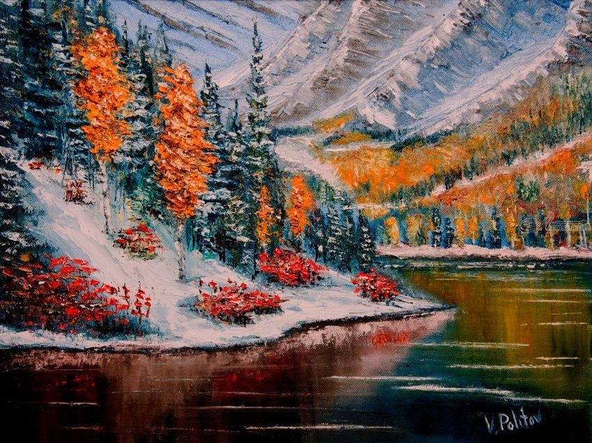The Flowers in the Snow, Paintings, Impressionism, Landscape, Canvas,Oil, By Valeriy Politov