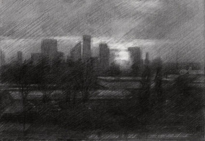 The Hague – 21-05-19, Drawings / Sketch, Fine Art, Impressionism, Realism, Architecture, Cityscape, Composition, Figurative, Inspirational, Landscape, Pencil, By Corne Akkers
