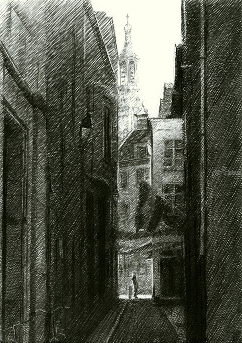 The Hague (Halstraat) - 12-03-15, Drawings / Sketch, Fine Art,Impressionism,Realism, Cityscape,Composition,Figurative,Inspirational,Landscape, Pencil, By Corne Akkers